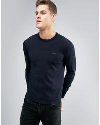 Armani Jeans | Blue Crew Knit Jumper Logo Regular Fit In Navy for Men | Lyst