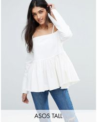 ASOS   White Denim Off Shoulder Top With Pleated Peplum And Cuff Detail   Lyst