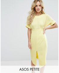 ASOS | Yellow Smart Woven Dress With V Back And Split Front | Lyst