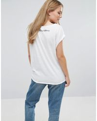 Vila   Blue Roll Sleeve T-shirt   Lyst
