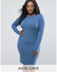 ASOS | Blue Mini Bodycon Dress With Long Sleeves | Lyst