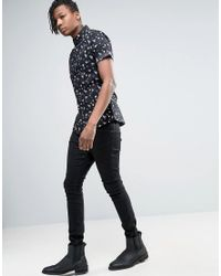 ASOS - Black Skinny Shirt With Beach Print for Men - Lyst