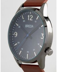 Breda - Slate Gunmetal Brown Leather Watch for Men - Lyst