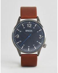 Breda | Slate Gunmetal Brown Leather Watch for Men | Lyst