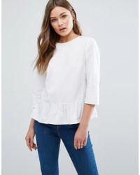 New Look - White Ruffle Hem Blouse - Lyst