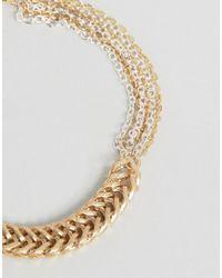 ASOS - Metallic Chevron Chain Bracelet - Lyst