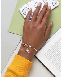 ASOS | Metallic Swallow Charm Cuff Bracelet | Lyst