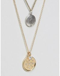 ASOS - Metallic Multirow Star Disc Necklace - Lyst