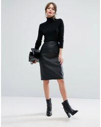 New Look | Black Faux Leather Pencil Midi Skirt | Lyst