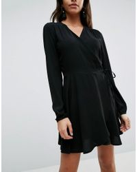 Liquorish - Black V Neck Wrap Front A Line Dress With Long Sleeves - Lyst