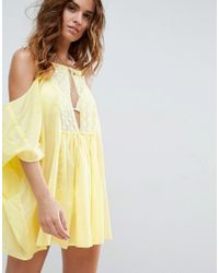 ASOS | Yellow Cold Shoulder Lace Front Beach Cover Up | Lyst