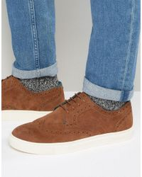 Ted Baker | Brown Rachet Suede Brogue Trainers for Men | Lyst