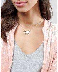 ASOS - Multicolor Unicorn Girl Gang Necklace - Lyst