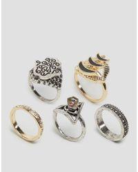 ASOS | Metallic Hamsa Stone Ring Pack | Lyst