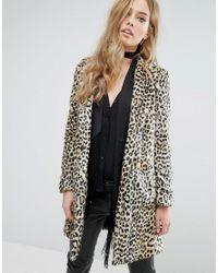 182b95cc18ce Lyst - Mango Faux Fur Leopard Print Coat in Brown