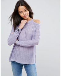 ASOS | Purple Jumper In Pointelle Stitch With Cold Shoulder | Lyst
