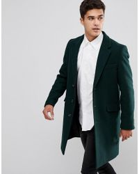 ASOS - Design Wool Mix Overcoat In Bottle Green for Men - Lyst