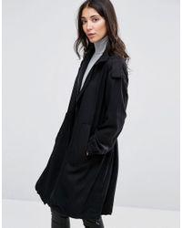 SELECTED - Black Vivi Loose Draped Coat - Lyst