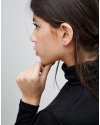 Pilgrim - Metallic Silver Plated Detail Hoop Earrings - Silver - Lyst