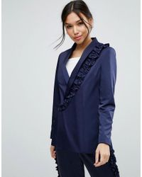 ASOS - Blue Ruffled Satin Suit Jacket - Lyst