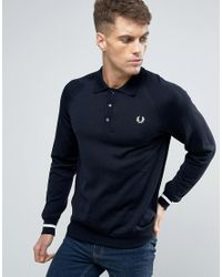 Fred Perry | Blue Texture Knit Jumper Stripe In Navy for Men | Lyst
