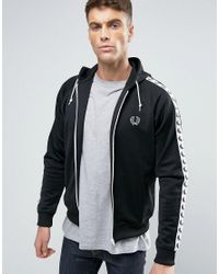 Fred Perry. Men's Sports Authentic Hooded Track Jacket In Black