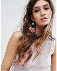 ASOS - Multicolor Statement Tassel Jewel Chandelier Earrings - Lyst