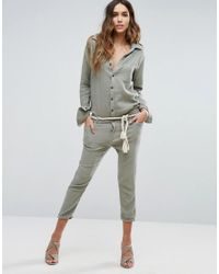 One Teaspoon - Green Utility Jumpsuit - Lyst