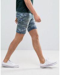 Blend - Blue Camo Denim Short for Men - Lyst