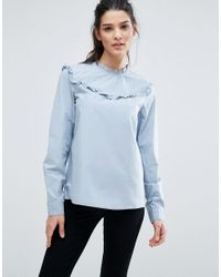 Vero Moda | Blue Ruffle Neck Blouse | Lyst