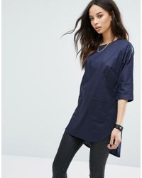 Noisy May Tall - Blue Button Back Oversized Shirt - Lyst