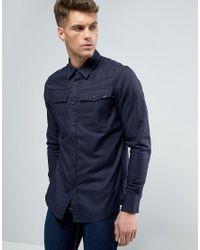 G-Star RAW   Blue 3301 Slim Fit Shirt Long Sleeve for Men   Lyst