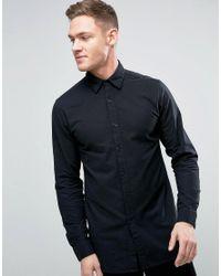 Jack & Jones | Black Premium Slim Longline Brushed Shirt for Men | Lyst