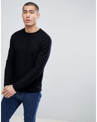 Only & Sons - Black Knitted Jumper With Curved Hem for Men - Lyst