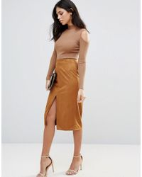 Glamorous | Brown Faux Suede Pencil Skirt | Lyst