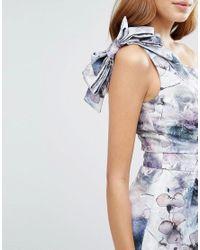 ASOS   Blue One Shoulder Floral Midi Dress   Lyst