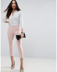 ASOS   Pink High Waisted Skinny Crop Pants   Lyst