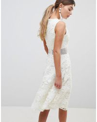 Chi Chi London White Crochet Lace Skater Dress With Crochet Insert
