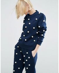 ASOS | Blue Pearl Embellished Sweater | Lyst