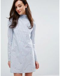 Fashion Union | High Neck Dress In Blue Stripe With Embroidery | Lyst