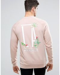ASOS | Green Sweatshirt With La Tropical Floral Print for Men | Lyst