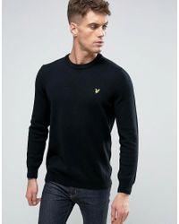 Lyle & Scott   Crew Knit Jumper Lambswool Eagle Logo In Black for Men   Lyst