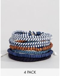 Icon Brand | Blue Nautical Bracelets In 4 Pack for Men | Lyst