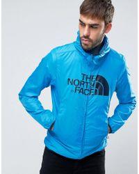 The North Face - Logo Hooded Jacket Drew Peak Windwall In Blue for Men - Lyst