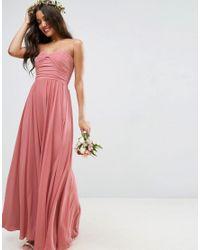 ASOS   Natural Wedding Bow Front Bandeau Maxi Dress   Lyst