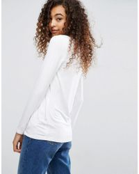 ASOS - White Top With Square Neck And Long Sleeve - Lyst