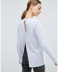ASOS | Blue T-shirt With Long Sleeves And Split Back | Lyst