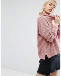 Daisy Street | Pink Oversized Cowl Neck Jumper | Lyst