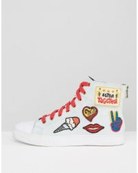 Tommy Hilfiger | Gigi Hadid White Patch Lace Up High Top Trainers | Lyst