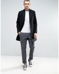 ASOS - Wool Mix Overcoat In Black for Men - Lyst